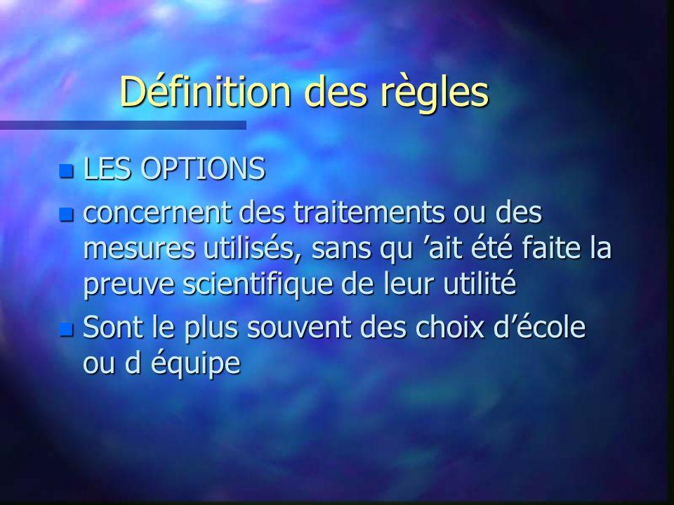 Définition des règles LES OPTIONS