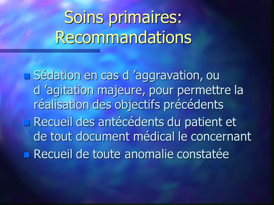 Soins primaires: Recommandations