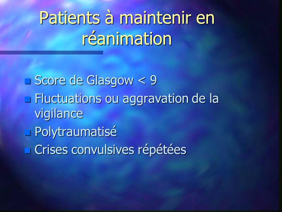 Patients à maintenir en réanimation