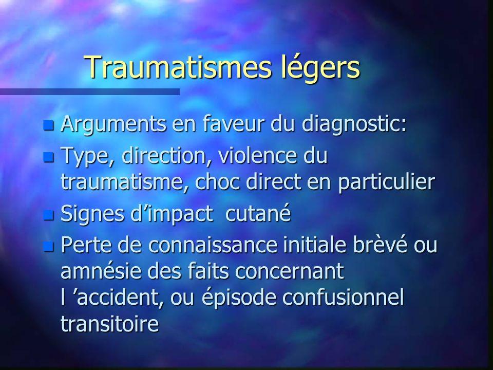 Traumatismes légers Arguments en faveur du diagnostic: