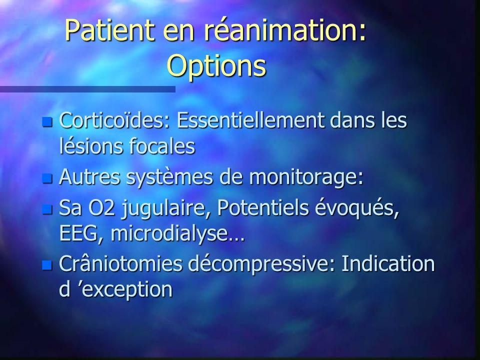 Patient en réanimation: Options