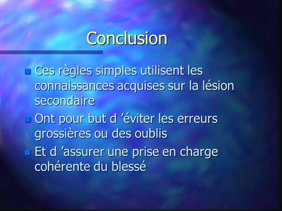 Conclusion Ces règles simples utilisent les connaissances acquises sur la lésion secondaire.