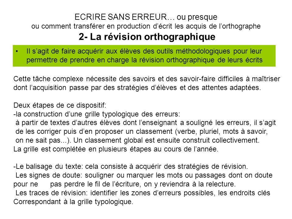 ECRIRE SANS ERREUR… ou presque ou comment transférer en production d'écrit les acquis de l'orthographe 2- La révision orthographique