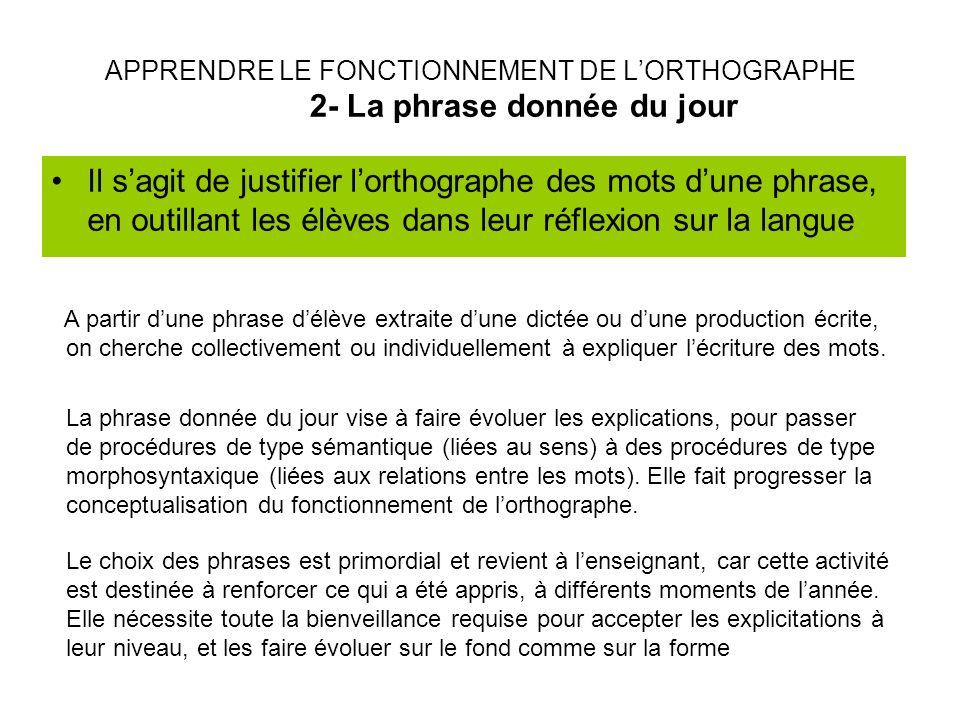 APPRENDRE LE FONCTIONNEMENT DE L'ORTHOGRAPHE 2- La phrase donnée du jour