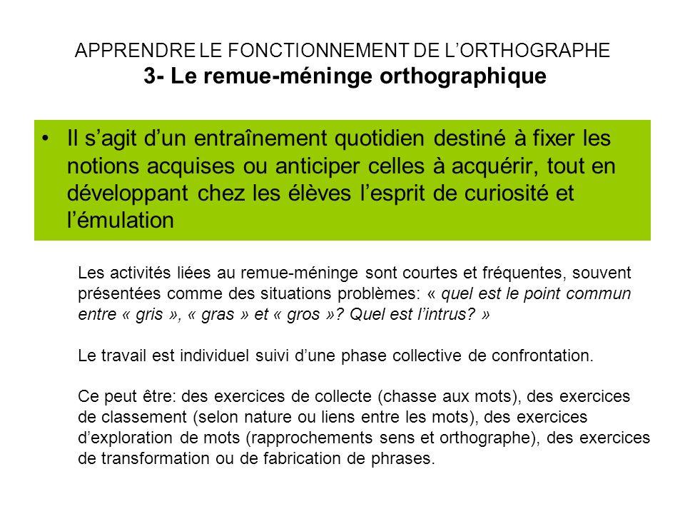 APPRENDRE LE FONCTIONNEMENT DE L'ORTHOGRAPHE 3- Le remue-méninge orthographique