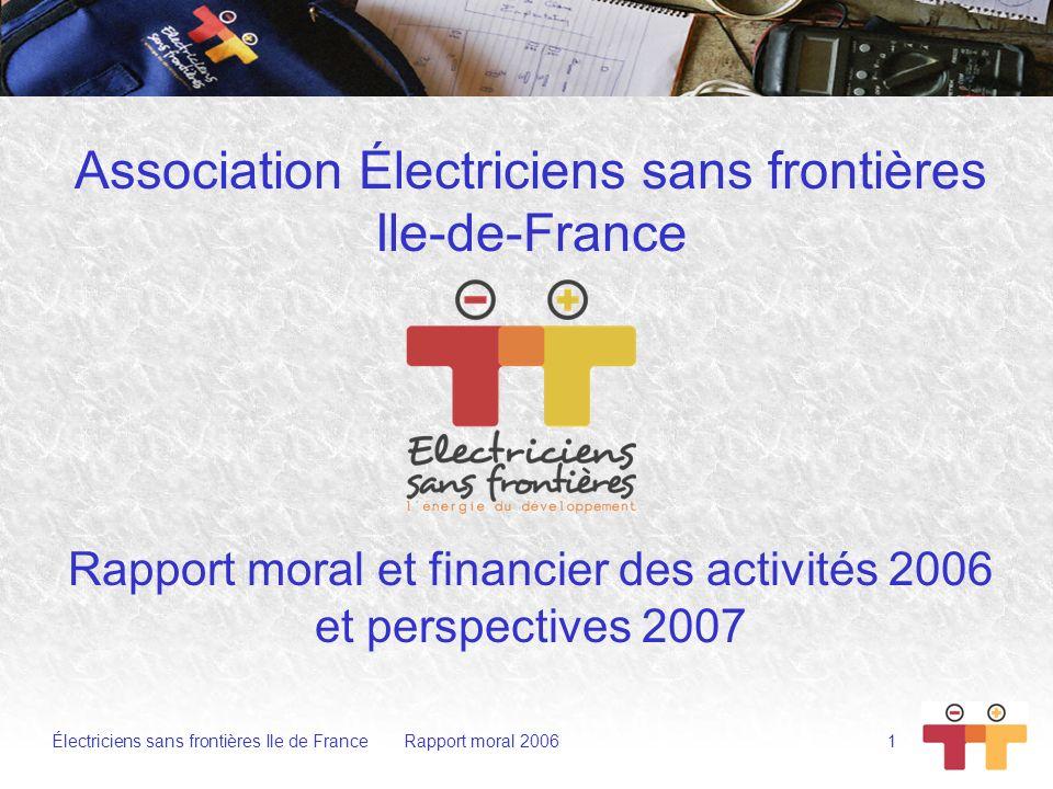 Rapport moral et financier des activités 2006 et perspectives 2007