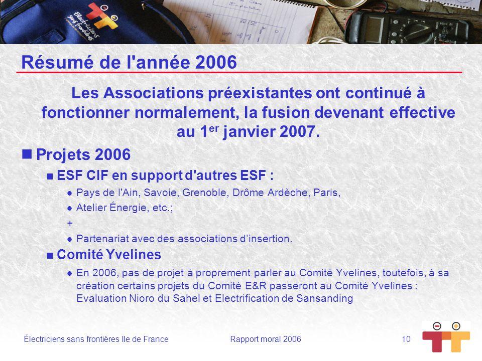 Résumé de l année 2006 Les Associations préexistantes ont continué à fonctionner normalement, la fusion devenant effective au 1er janvier 2007.