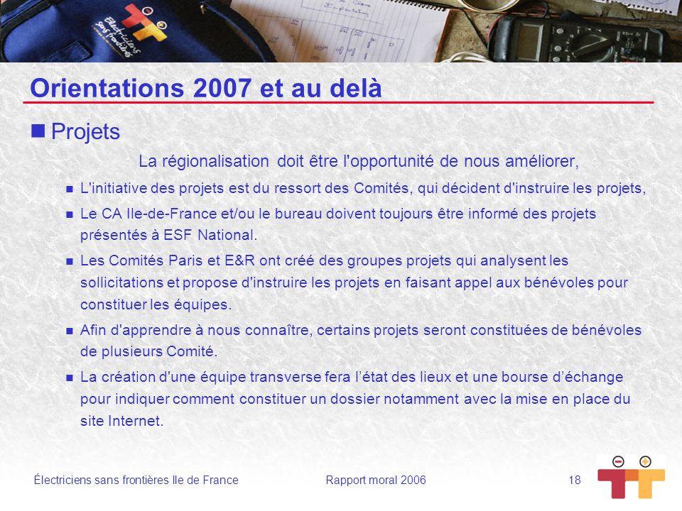 Orientations 2007 et au delà