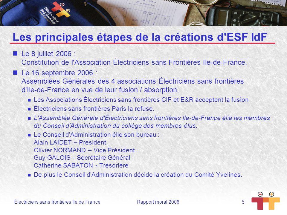 Les principales étapes de la créations d ESF IdF