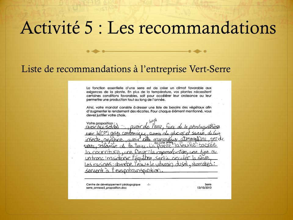 Activité 5 : Les recommandations