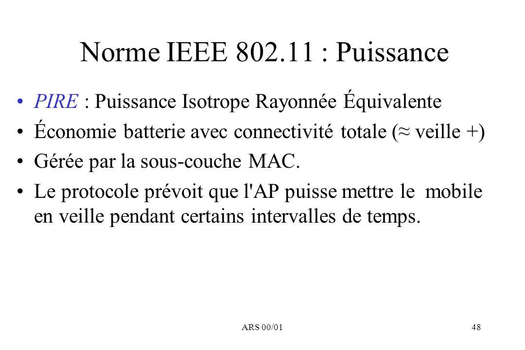 Norme IEEE 802.11 : Puissance PIRE : Puissance Isotrope Rayonnée Équivalente. Économie batterie avec connectivité totale (≈ veille +)