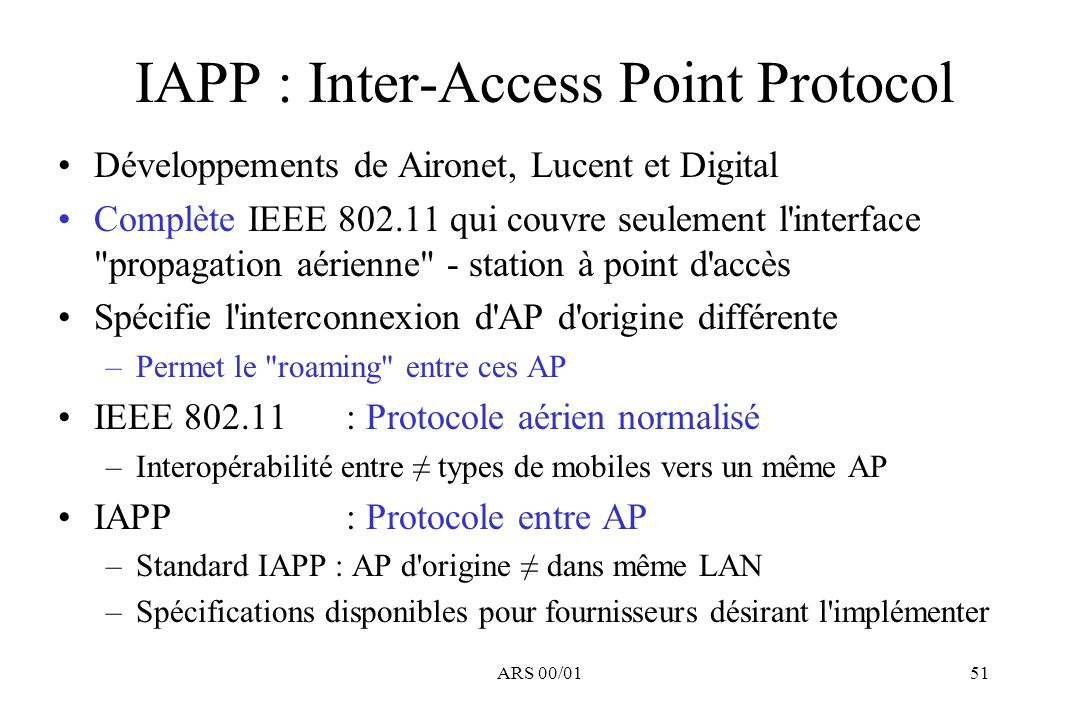 IAPP : Inter-Access Point Protocol