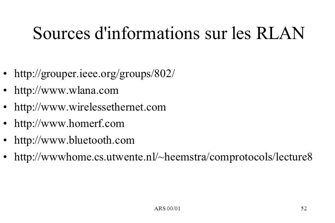 Sources d informations sur les RLAN