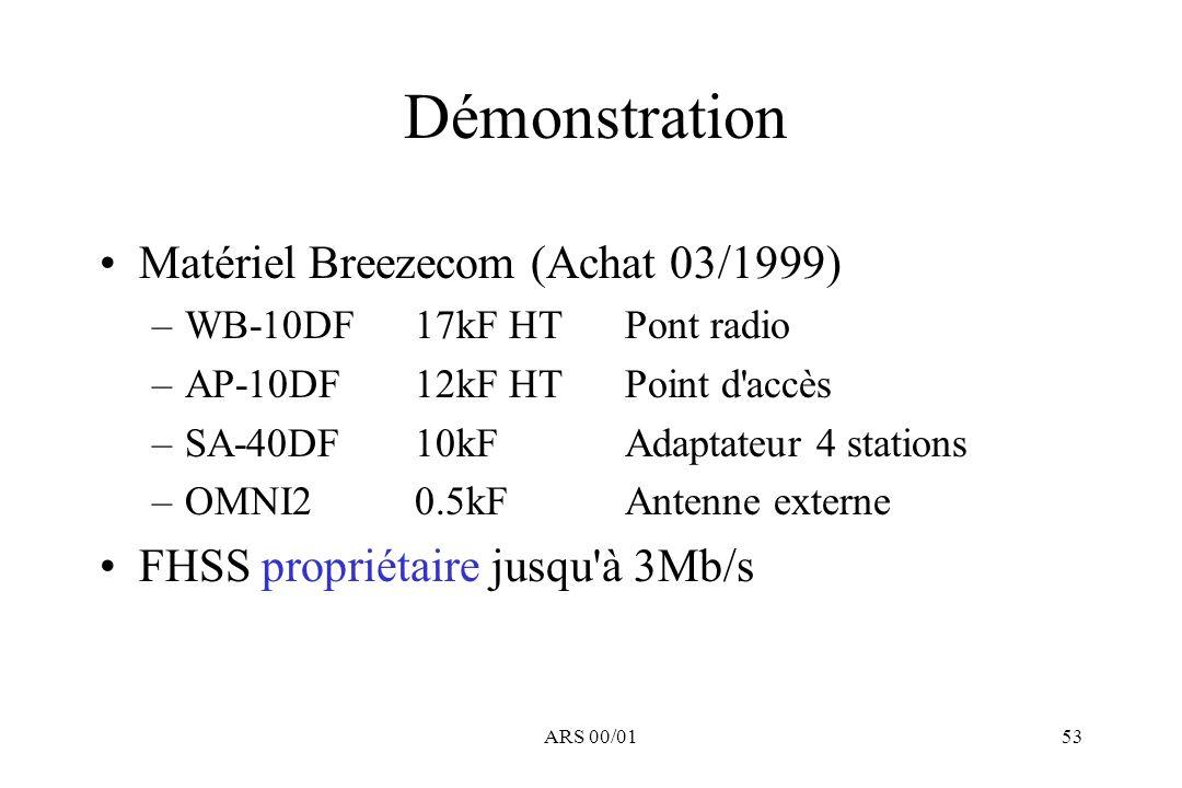 Démonstration Matériel Breezecom (Achat 03/1999)