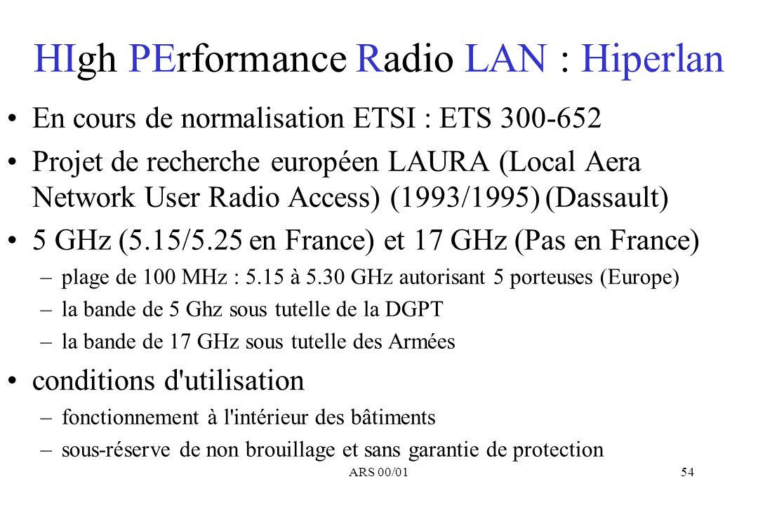 HIgh PErformance Radio LAN : Hiperlan