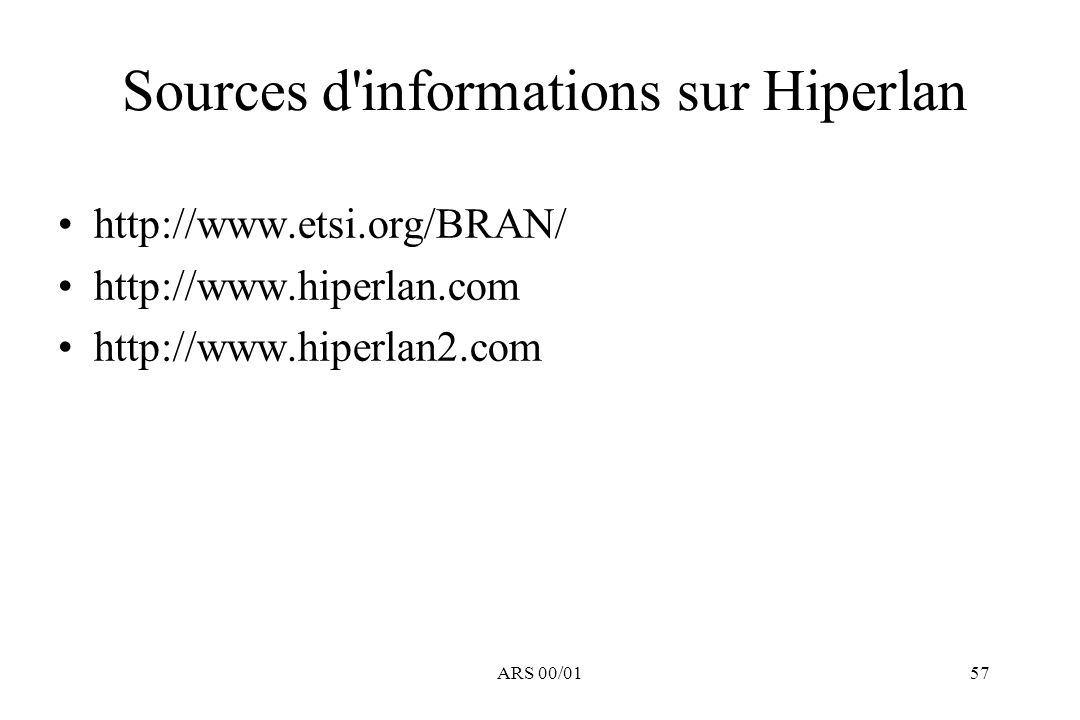 Sources d informations sur Hiperlan
