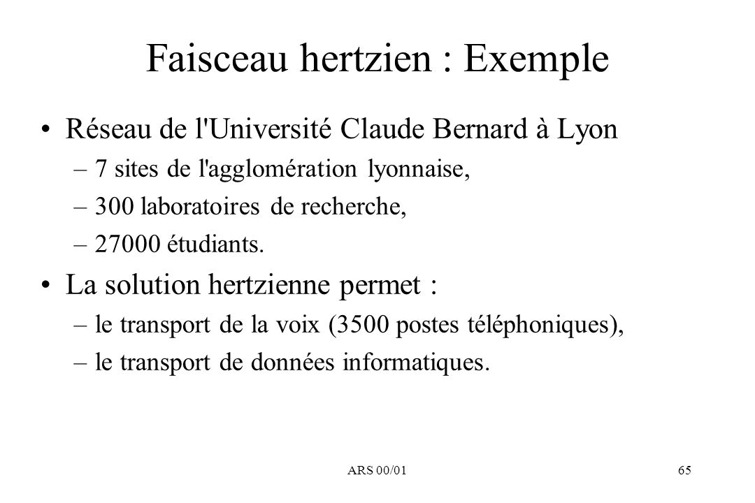 Faisceau hertzien : Exemple