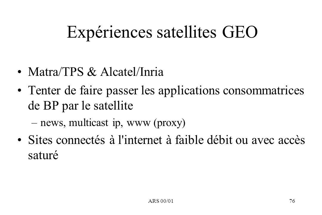 Expériences satellites GEO