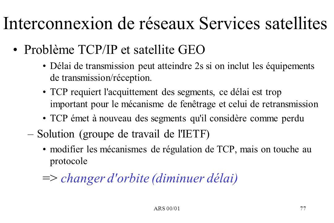 Interconnexion de réseaux Services satellites