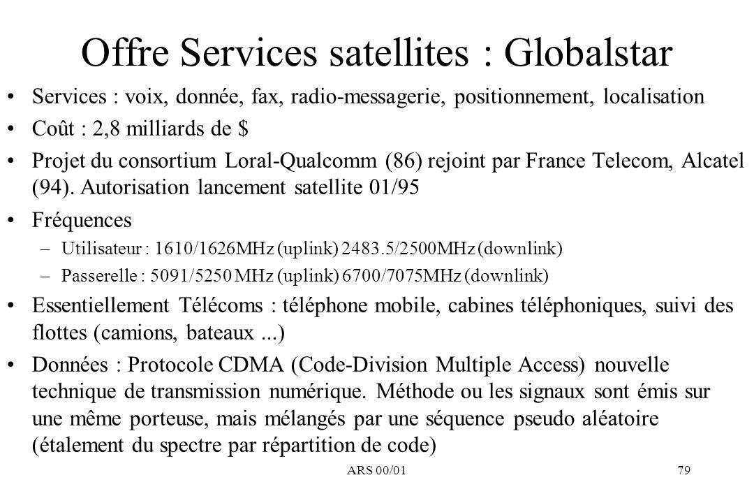 Offre Services satellites : Globalstar