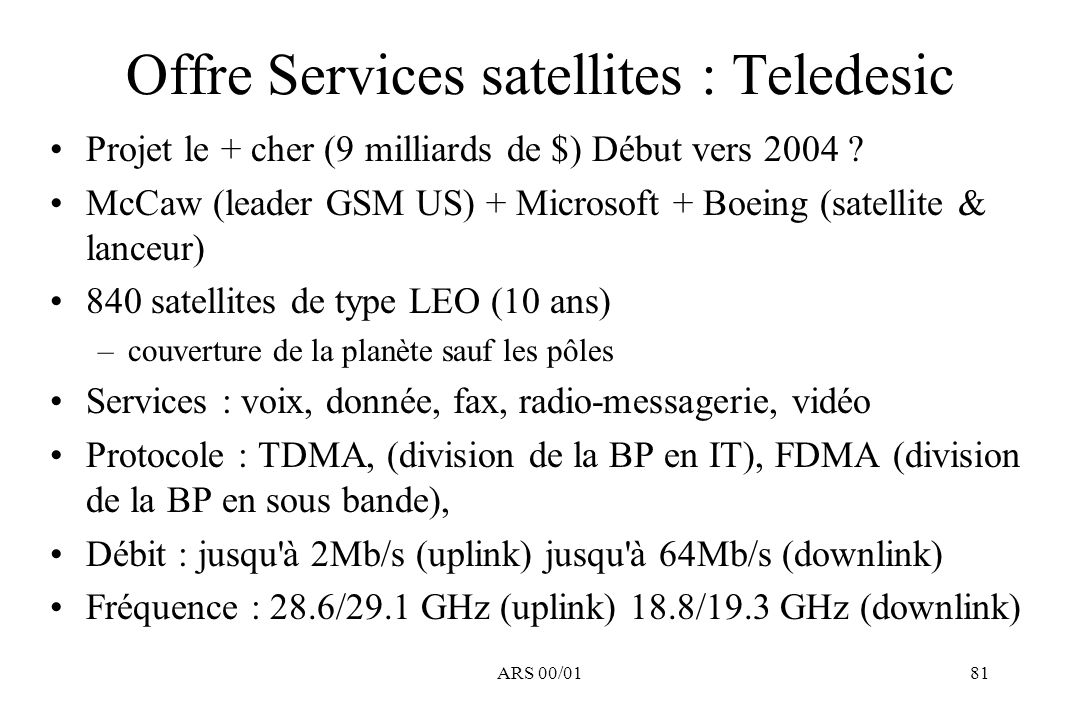 Offre Services satellites : Teledesic