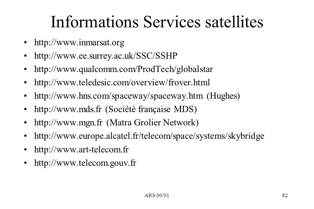 Informations Services satellites