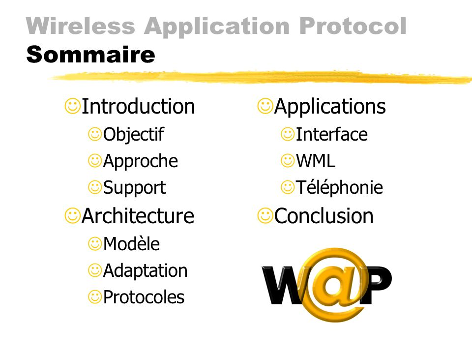 Wireless Application Protocol Sommaire