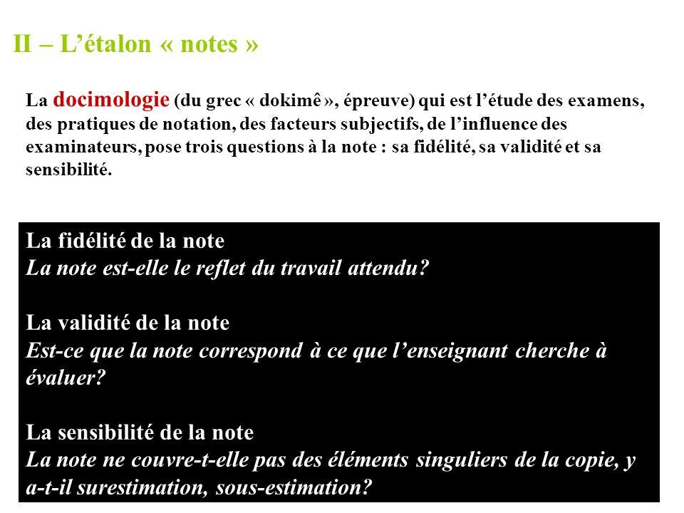 II – L'étalon « notes » La fidélité de la note