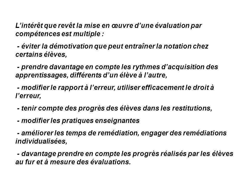 L'intérêt que revêt la mise en œuvre d'une évaluation par compétences est multiple :