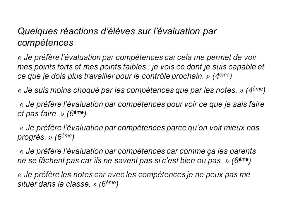 Quelques réactions d'élèves sur l'évaluation par compétences