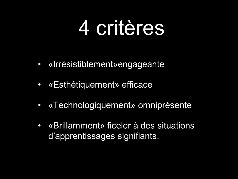 4 critères «Irrésistiblement»engageante «Esthétiquement» efficace