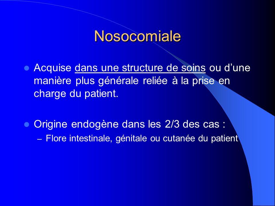 Nosocomiale Acquise dans une structure de soins ou d'une manière plus générale reliée à la prise en charge du patient.