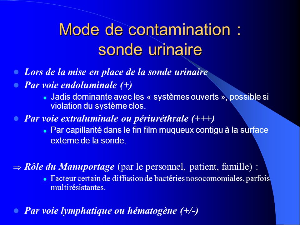 Mode de contamination : sonde urinaire