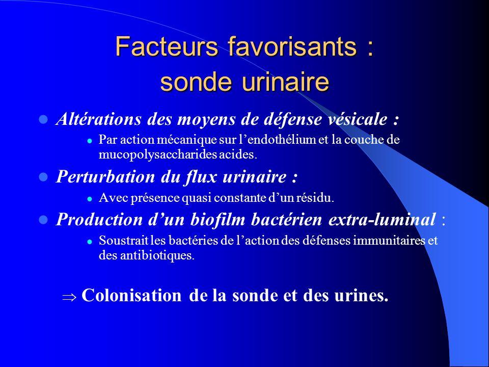 Facteurs favorisants : sonde urinaire