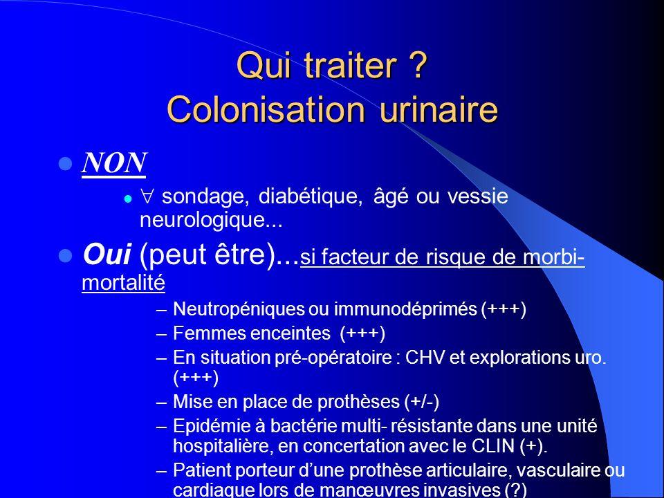 Qui traiter Colonisation urinaire