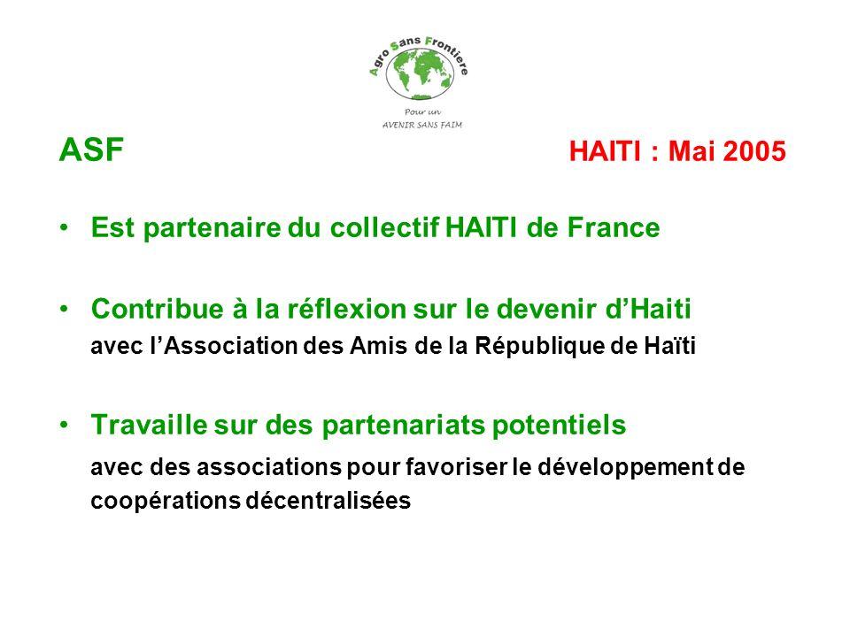 ASF HAITI : Mai 2005 Est partenaire du collectif HAITI de France