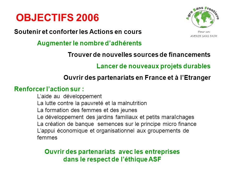 OBJECTIFS 2006 Soutenir et conforter les Actions en cours