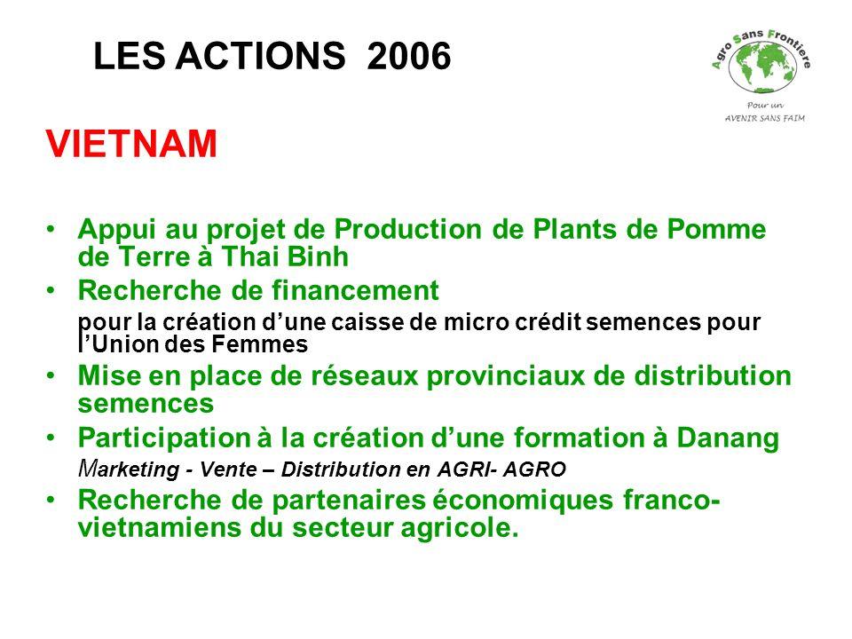 LES ACTIONS 2006 VIETNAM. Appui au projet de Production de Plants de Pomme de Terre à Thai Binh. Recherche de financement.