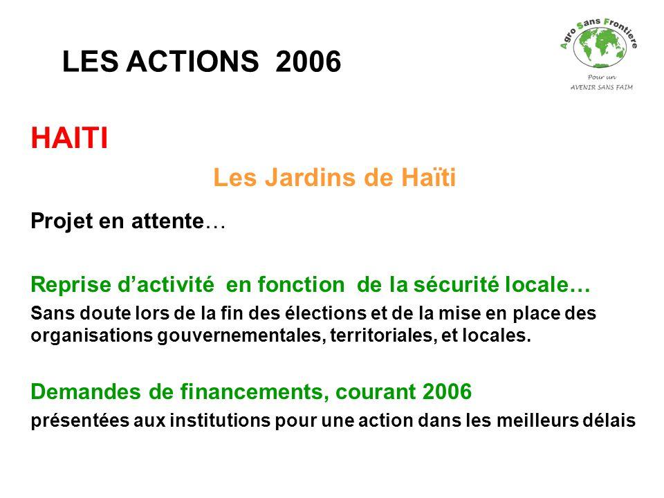 LES ACTIONS 2006 HAITI Les Jardins de Haïti Projet en attente…
