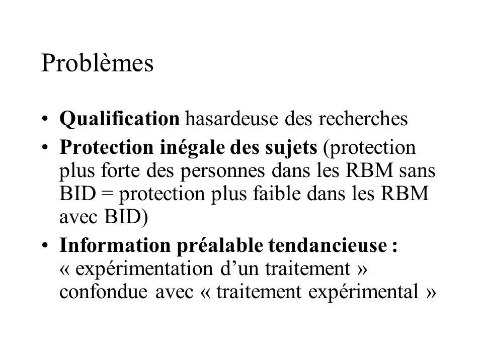 Problèmes Qualification hasardeuse des recherches