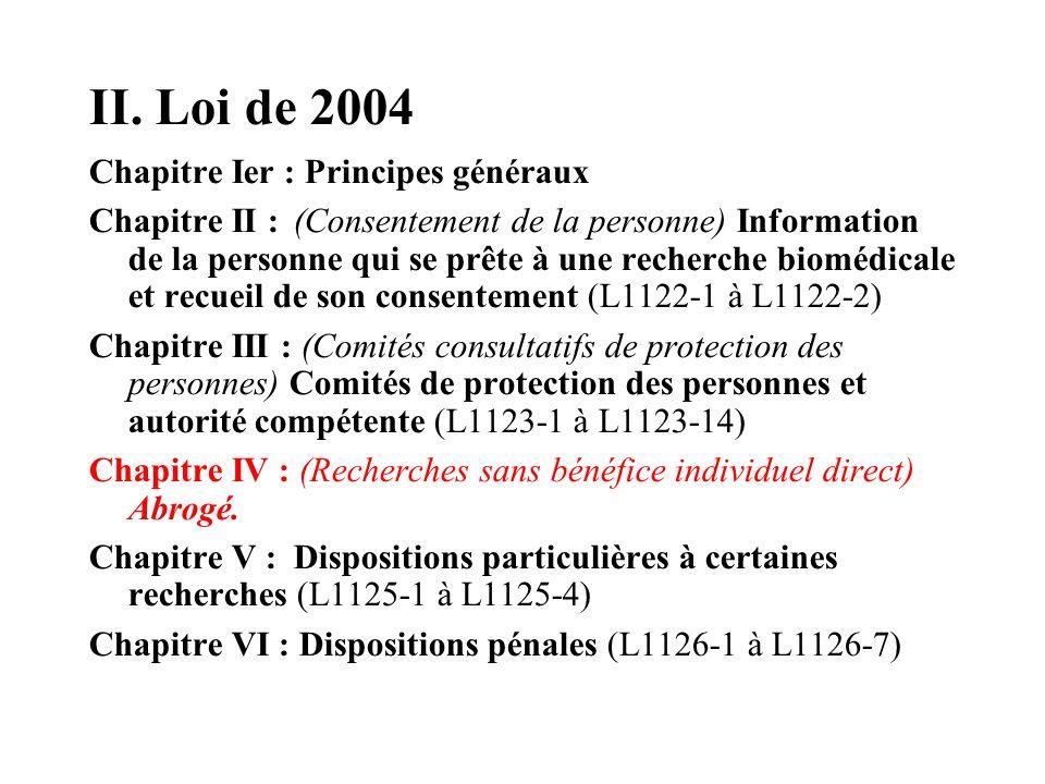 II. Loi de 2004 Chapitre Ier : Principes généraux