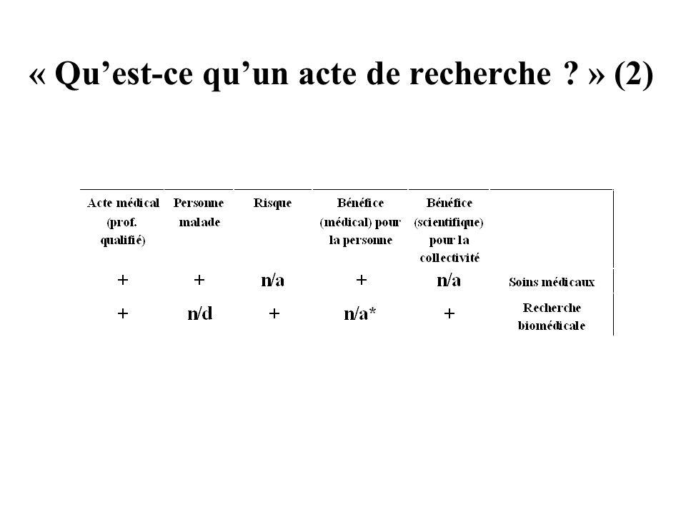 « Qu'est-ce qu'un acte de recherche » (2)