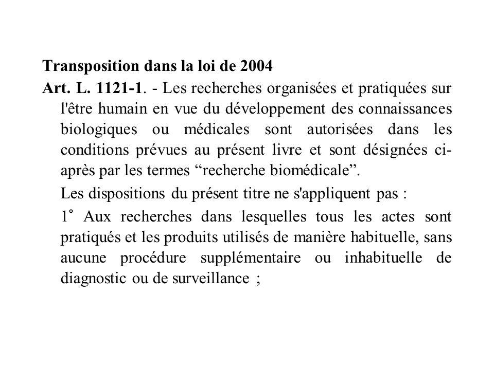 Transposition dans la loi de 2004