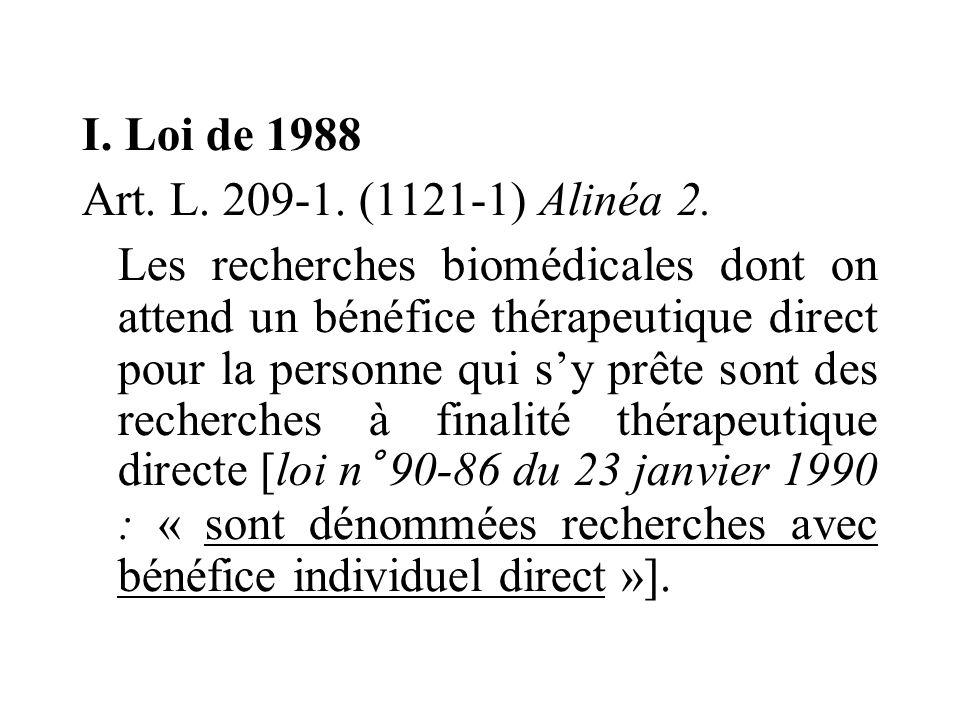 I. Loi de 1988 Art. L. 209-1. (1121-1) Alinéa 2.