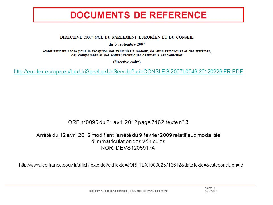 DOCUMENTS DE REFERENCE