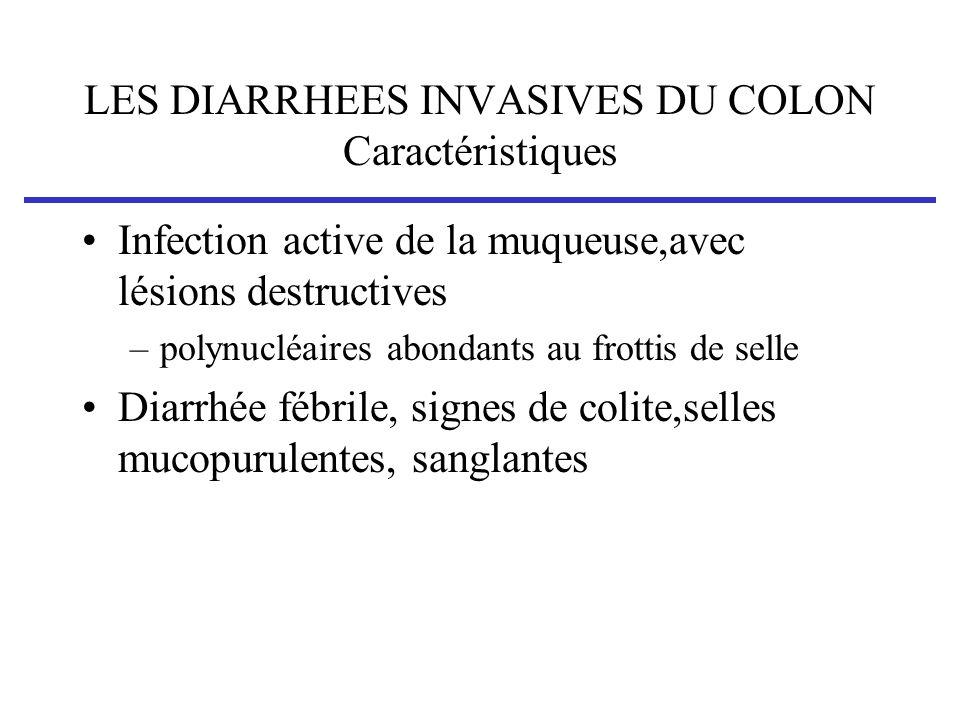 LES DIARRHEES INVASIVES DU COLON Caractéristiques