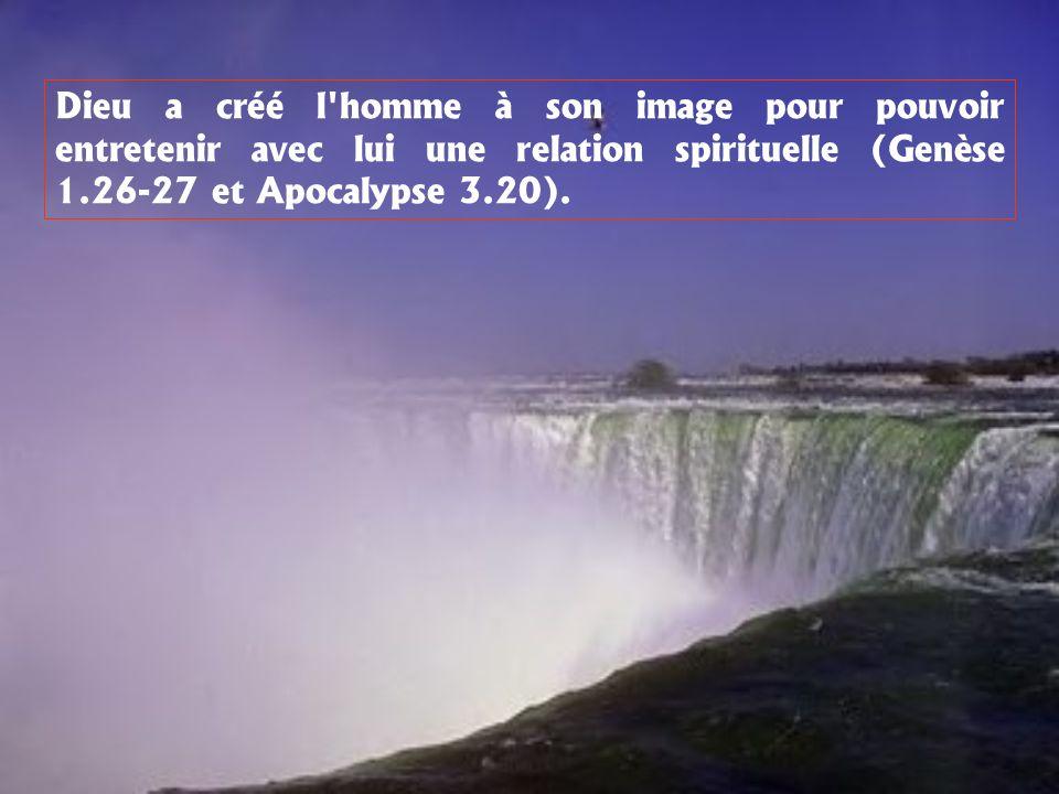 Dieu a créé l homme à son image pour pouvoir entretenir avec lui une relation spirituelle (Genèse 1.26-27 et Apocalypse 3.20).