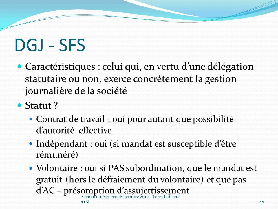 DGJ - SFS Caractéristiques : celui qui, en vertu d'une délégation statutaire ou non, exerce concrètement la gestion journalière de la société.