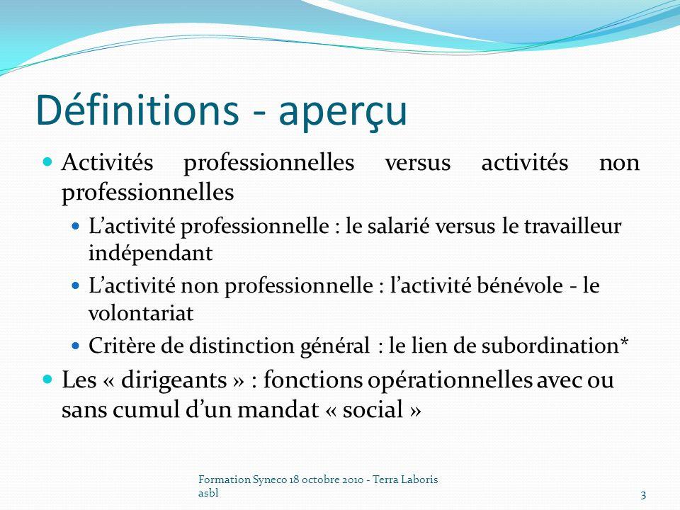 Définitions - aperçu Activités professionnelles versus activités non professionnelles.