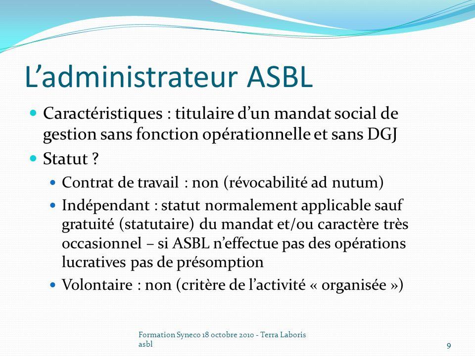 L'administrateur ASBL